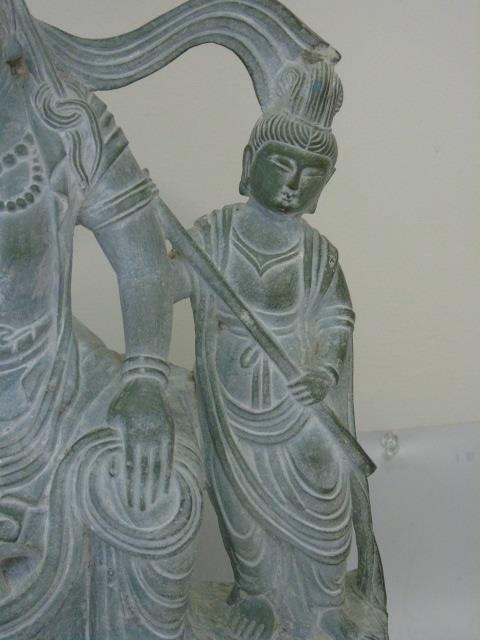 Large Carved Stone Asian Female Buddha Mount Lamp - 5