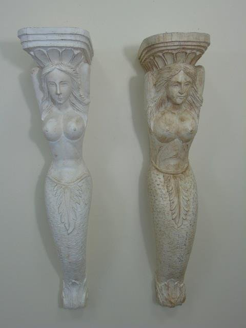 Pair Hand Carved Wood Nude Mermaid Corbels - 3