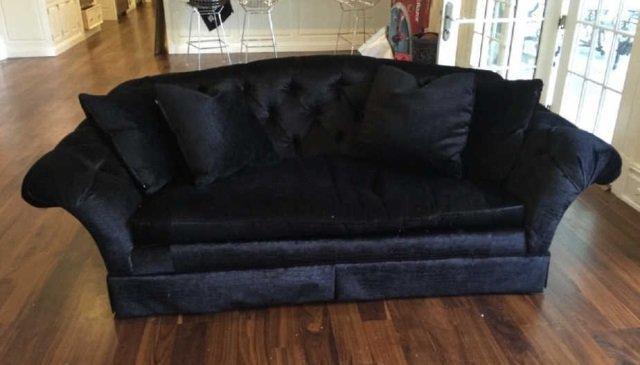 Custom Contemporary Crocodile Velvet Black Sofa - 2