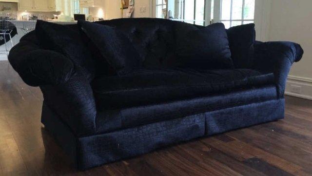 Custom Contemporary Crocodile Velvet Black Sofa - 4
