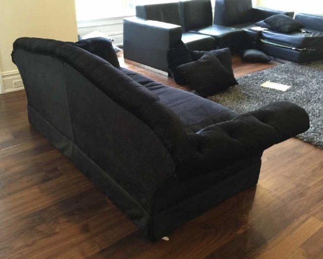 Custom Contemporary Crocodile Velvet Black Sofa - 5