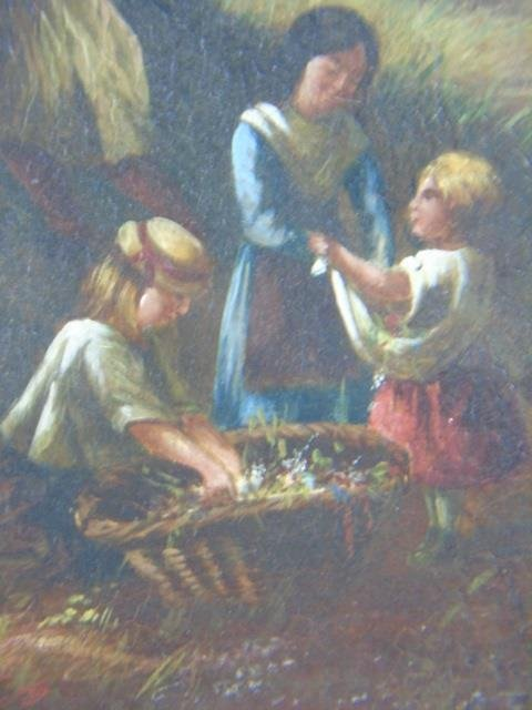 Antique 19th C Framed Continental Oil Painting - 5
