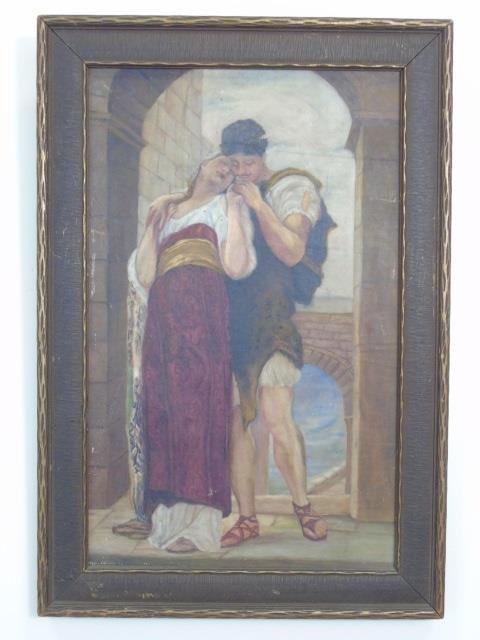 Antique Orientalist Style Oil Painting on Canvas