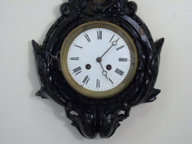 Antique Wrought Iron Victorian Banjo Wall Clock - 4