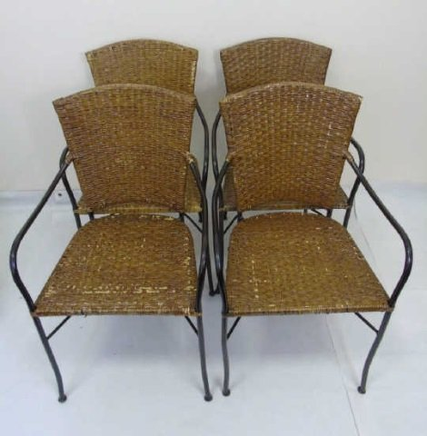 Set of Four Wrought Iron & Wicker Dining Chairs