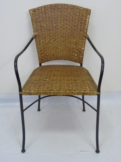 Set of Four Wrought Iron & Wicker Dining Chairs - 2