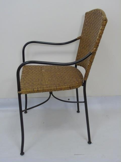 Set of Four Wrought Iron & Wicker Dining Chairs - 3