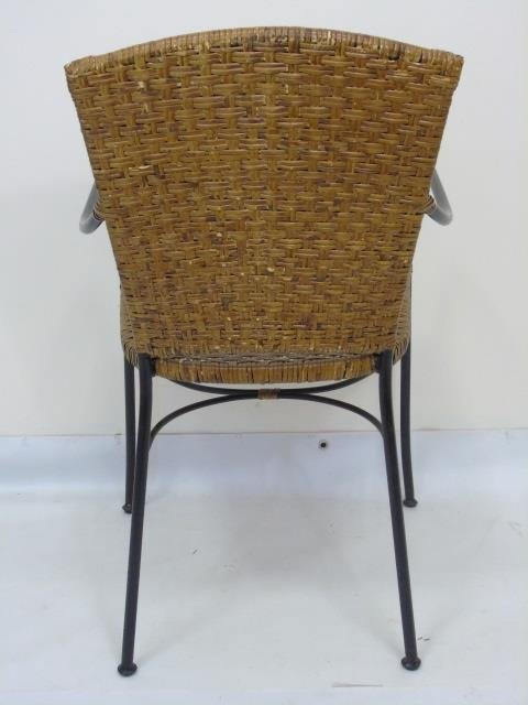 Set of Four Wrought Iron & Wicker Dining Chairs - 4