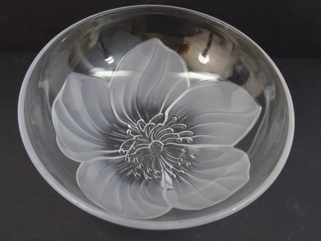 Vintage Lalique Style Frosted Art Glass Bowl - 2