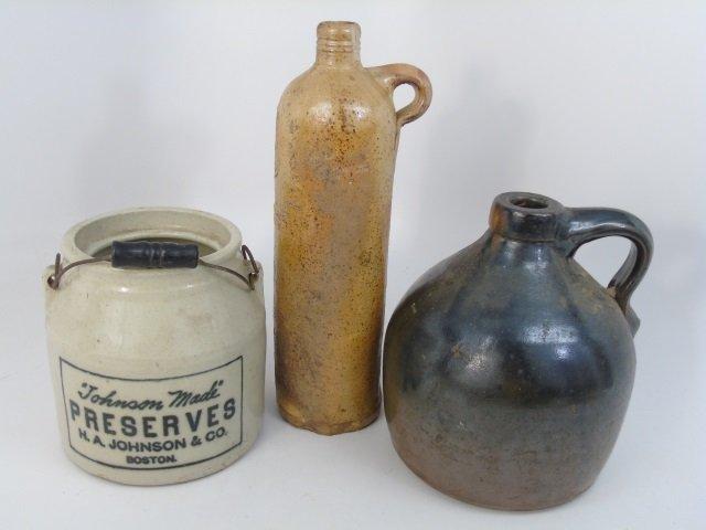 Three Antique Stoneware Liquor & Kitchen Crocks