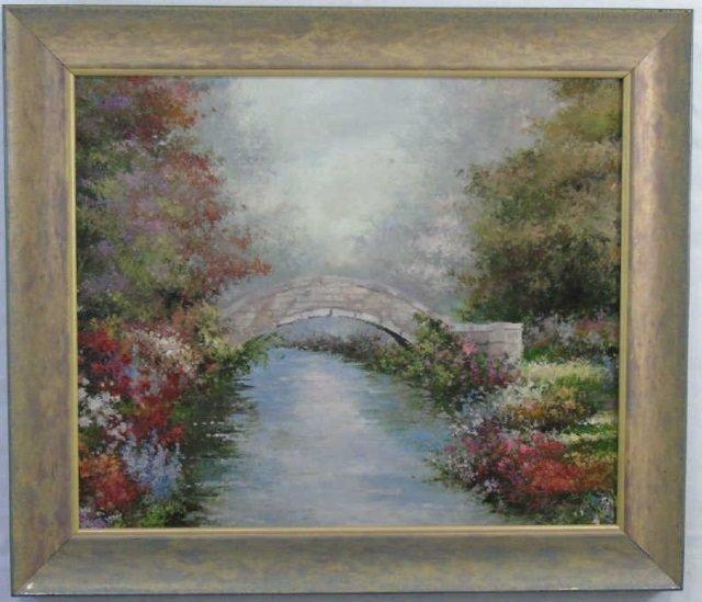P. Crowell - Bridge Over Stream w Flowers Painting