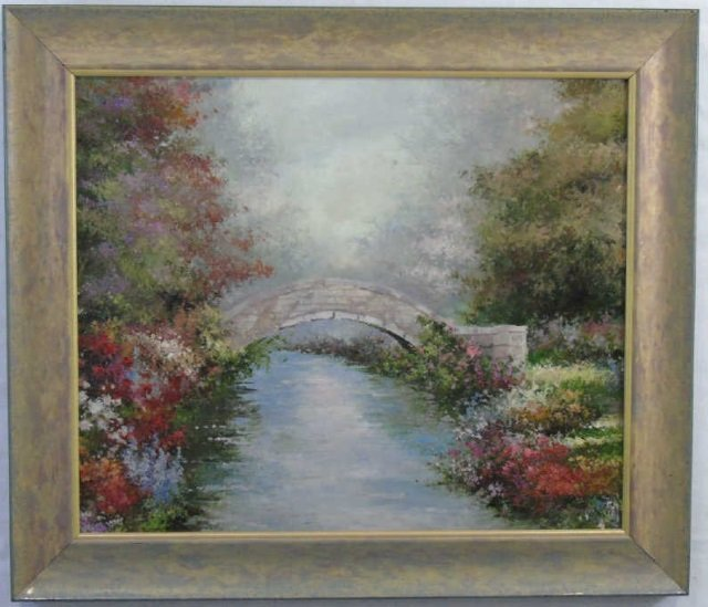 P. Crowell - Bridge Over Stream w Flowers Painting