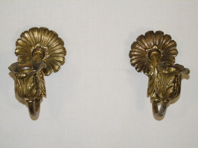 Pair of Single Arm Gilded Leaf Sconces