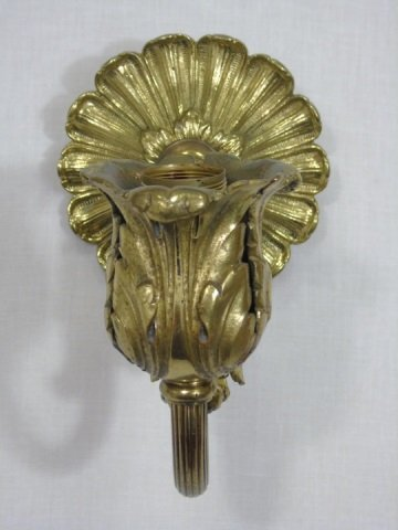 Pair of Single Arm Gilded Leaf Sconces - 3