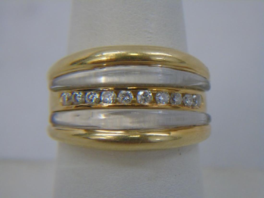 Estate 18k Yellow Gold Rock Crystal & Diamond Ring