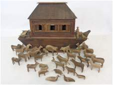 Antique German 19th C Noahs Ark Carved Wood Toy