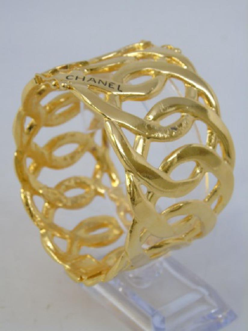 Vintage Chanel Gilt Gold Hinged Bangle Bracelet