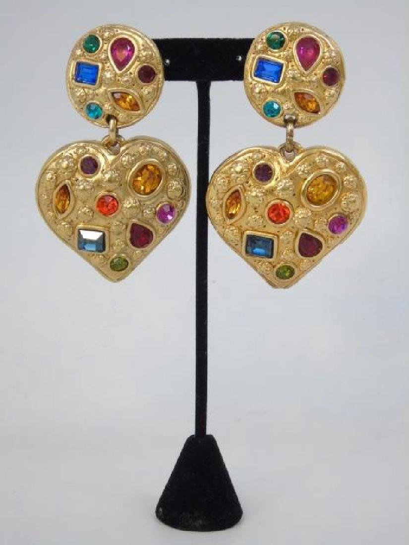Jacky DEG French Gilt Heart w/ Paste Earrings