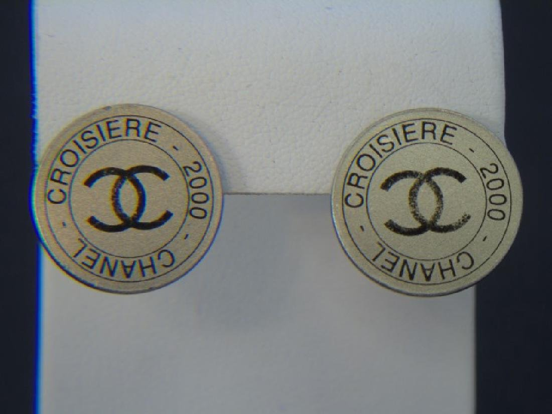 Vintage Chanel Silver Disk Earrings