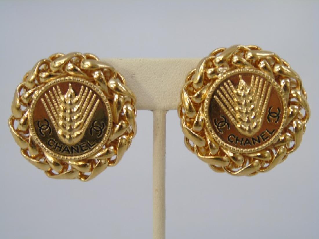 Chanel Braided Gilt Gold Clip Earrings