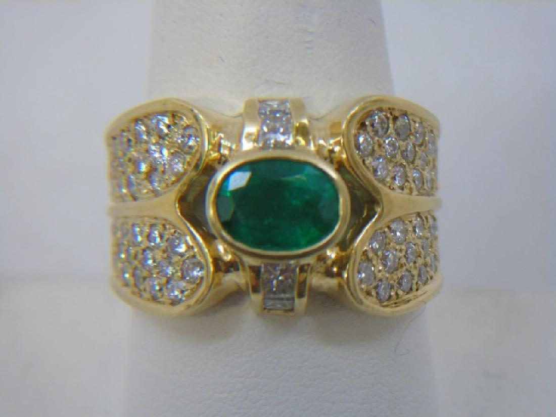 Estate 18kt Gold Emerald & Diamond Ring