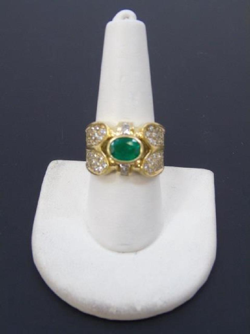 Estate 18kt Gold Emerald & Diamond Ring - 2