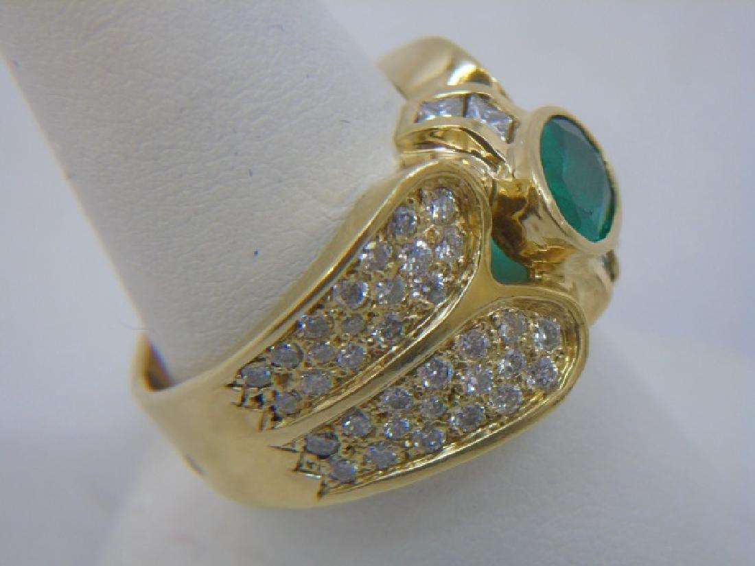 Estate 18kt Gold Emerald & Diamond Ring - 3