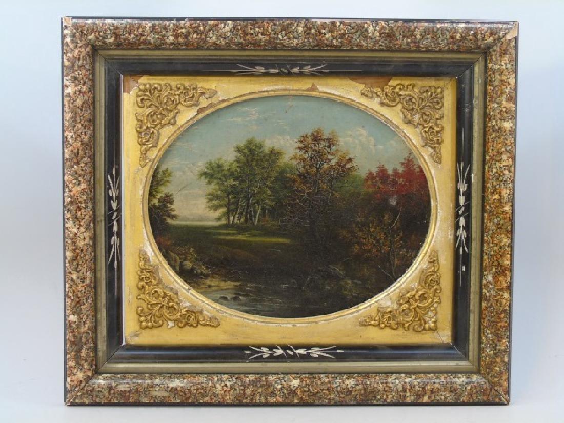 David Johnson Oval Cartouche Framed Oil on Canvas