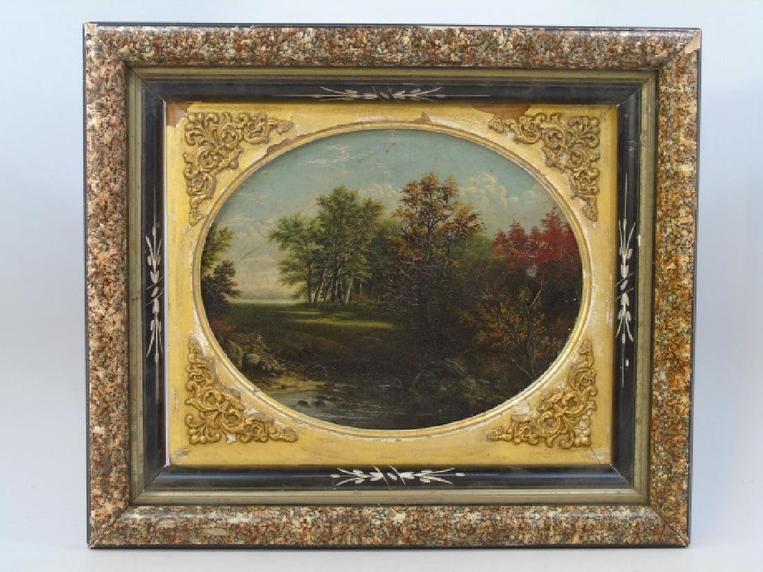 David Johnson Oval Cartouche Framed Oil on Canvas