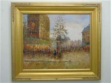 Oil on Canvas French Street Scene with Tree