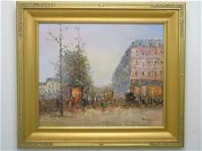 Oil on Canvas of French Street Scene w Boulevard