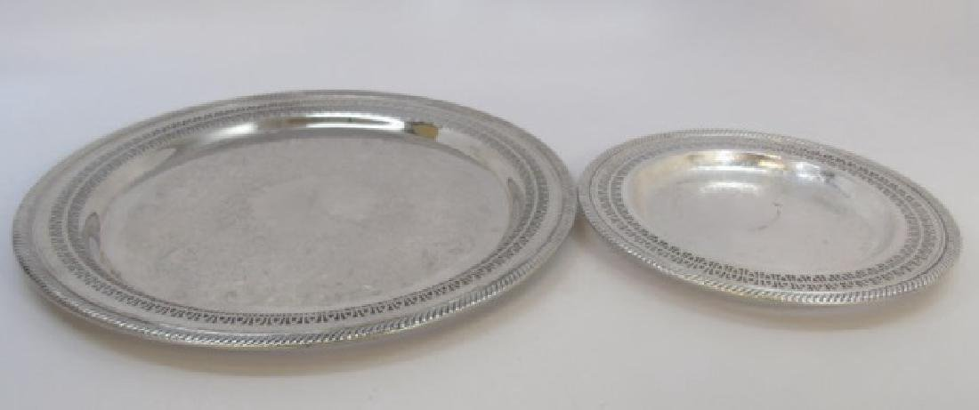 2 Chased Silver Plate Trays w Reticulated Borders