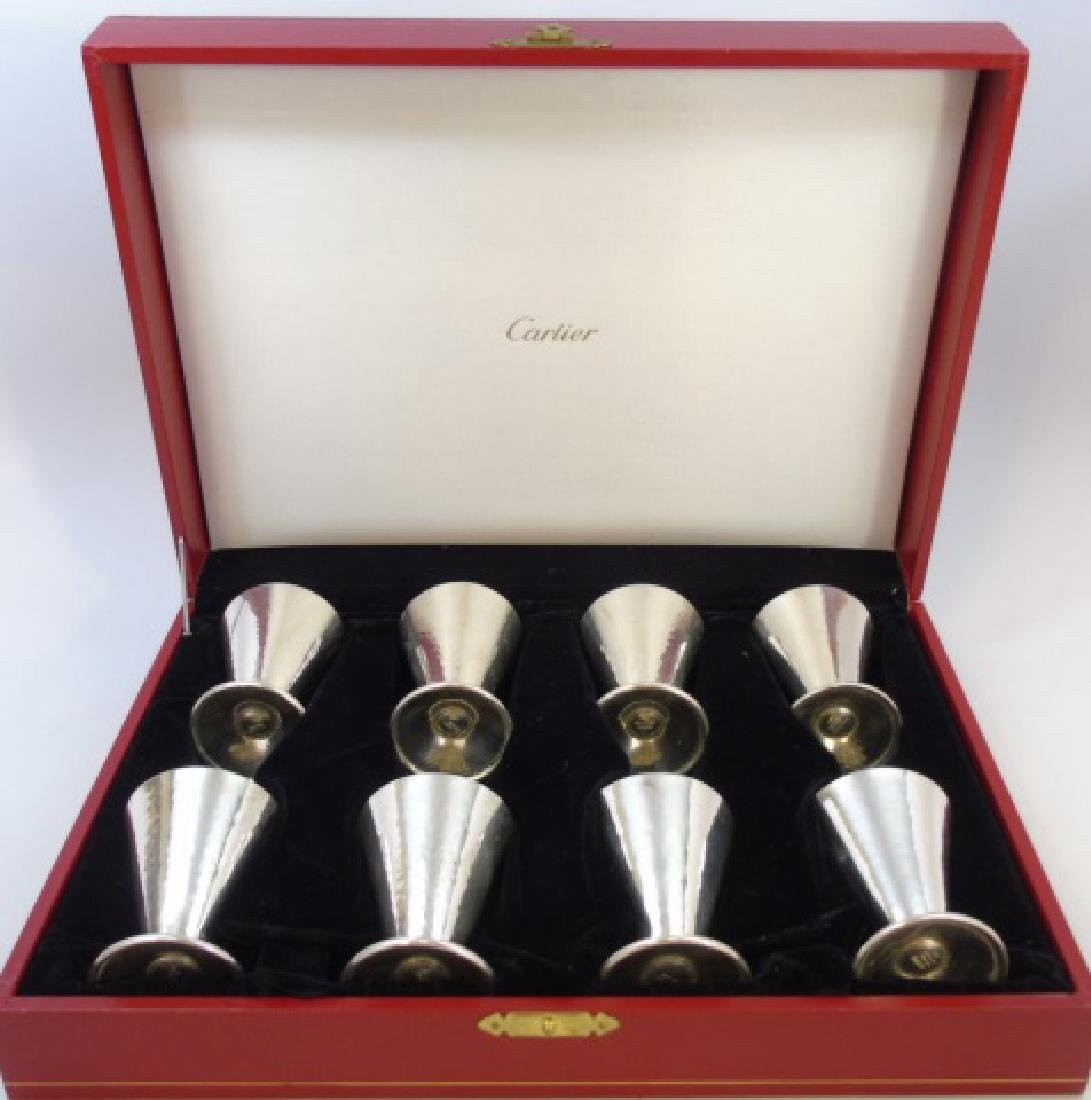 Boxed Cartier Sterling Silver Set of Eight Glasses