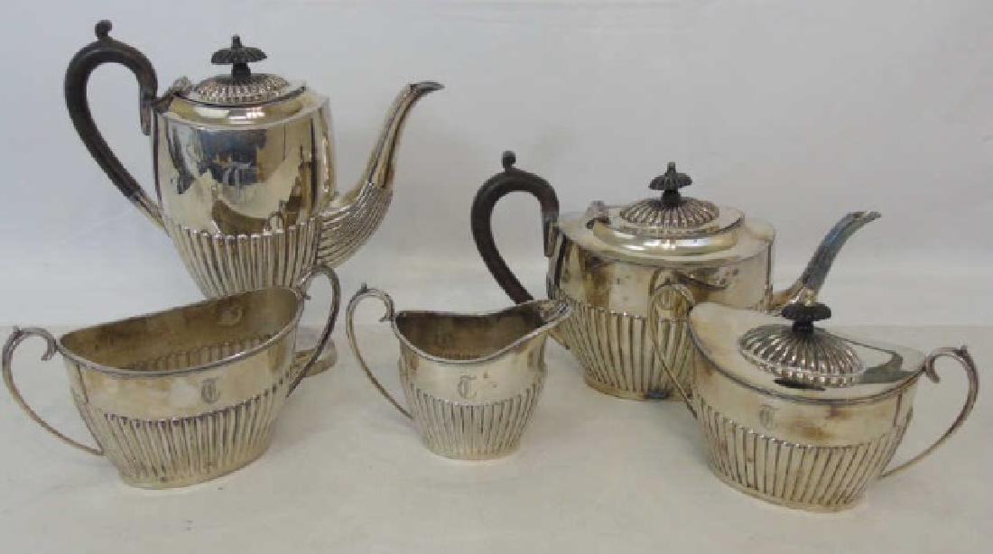 Antique Sheffield England Silver Plate Tea Service
