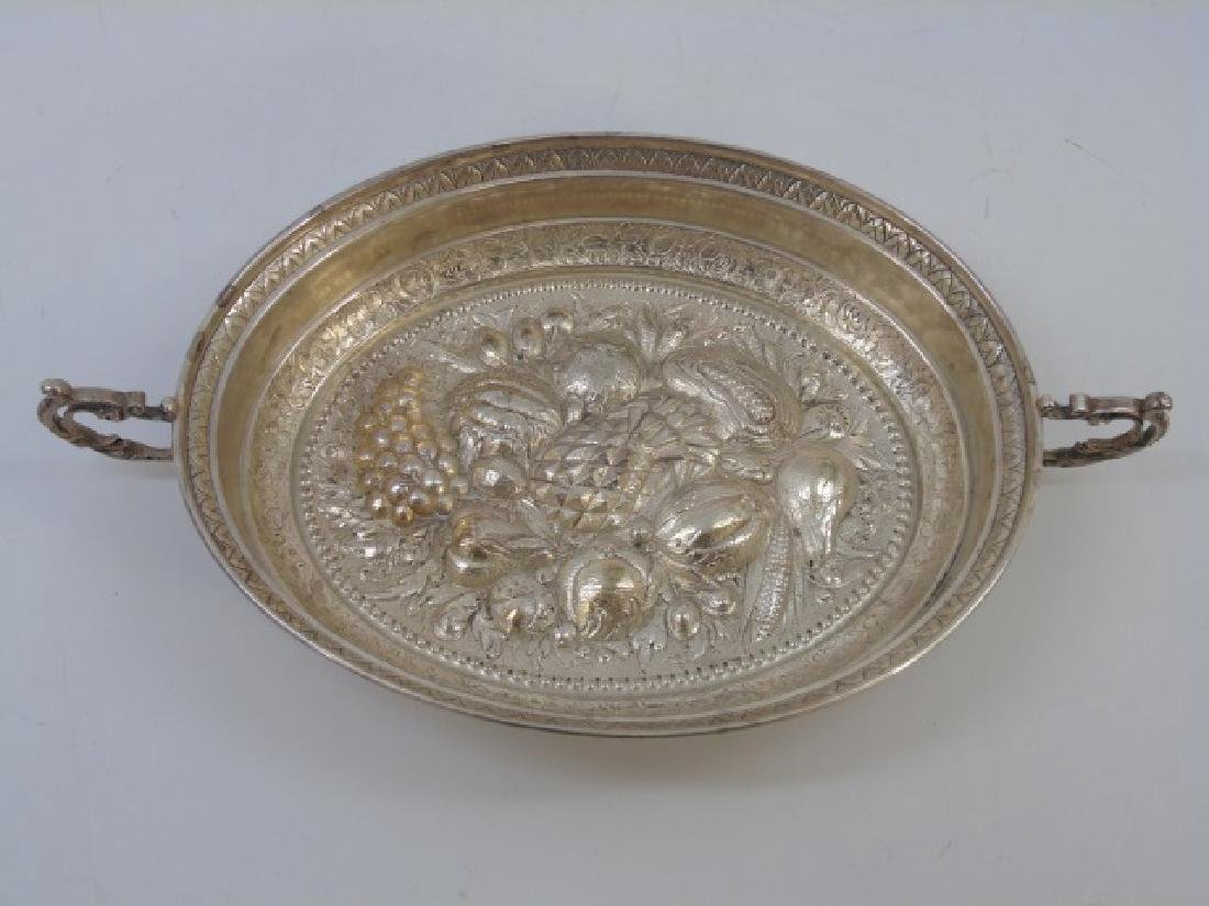 Antique Continental Silver Repousse Handled Bowl