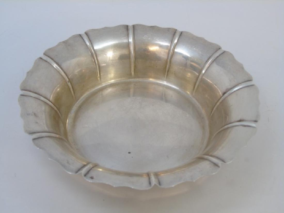 Large Antique Sterling Silver Scalloped Edge Bowl
