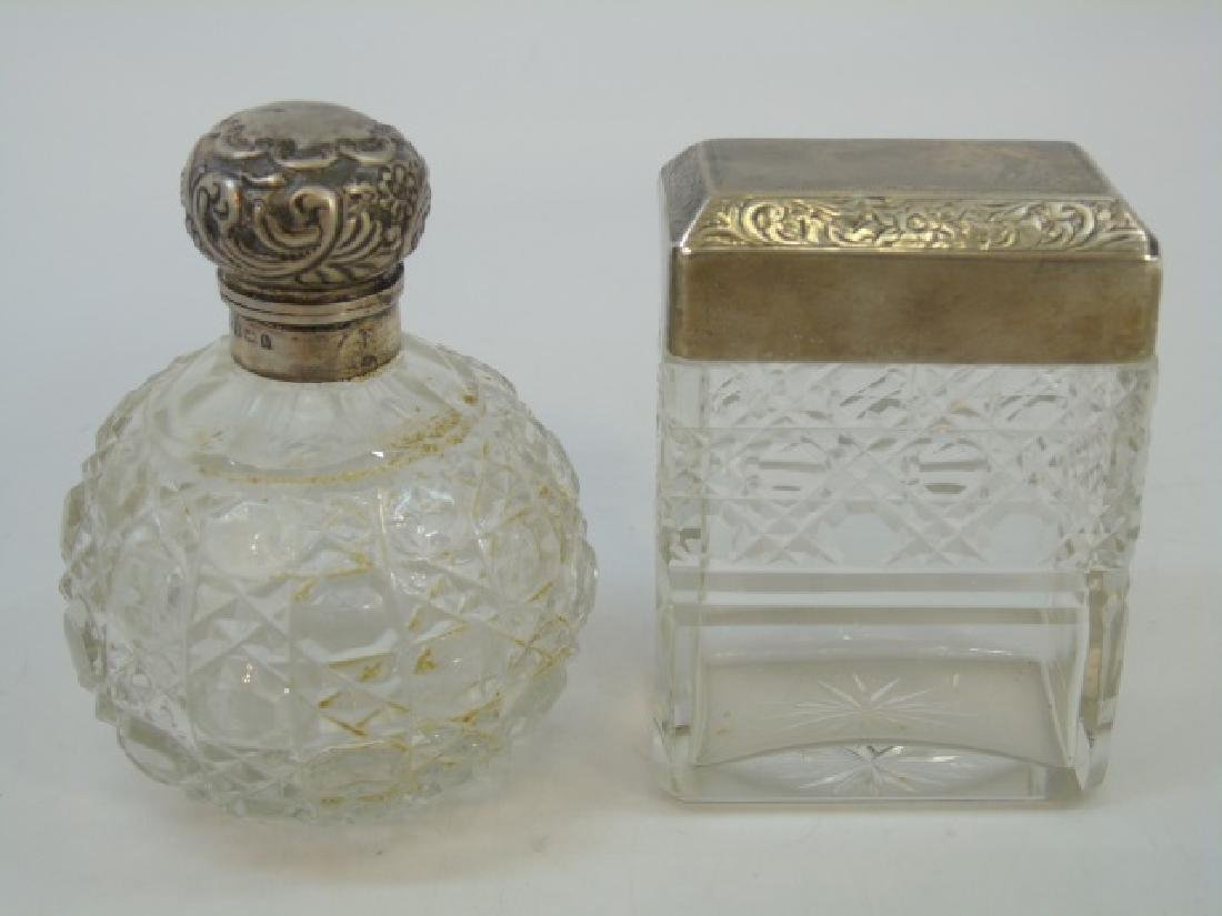 Antique Sterling Silver & Crystal Perfume Bottles