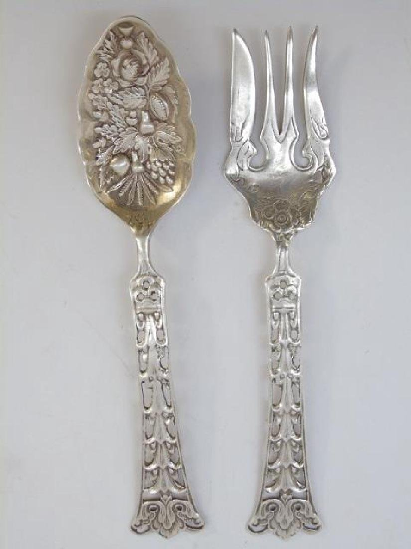 Pair Antique Sterling Silver Repousse Serving Item