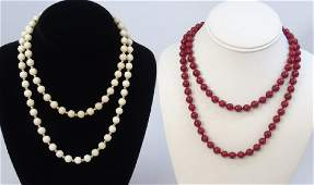 Two Chinese Beaded Necklaces - Hardstone & Coral