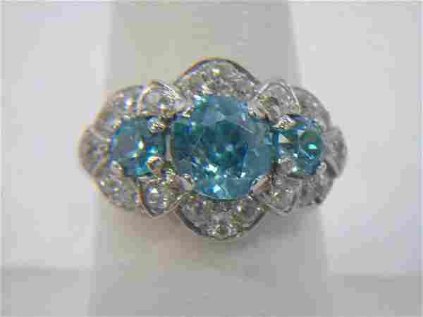 Estate 14kt White Gold Blue Zircon & Diamond Ring