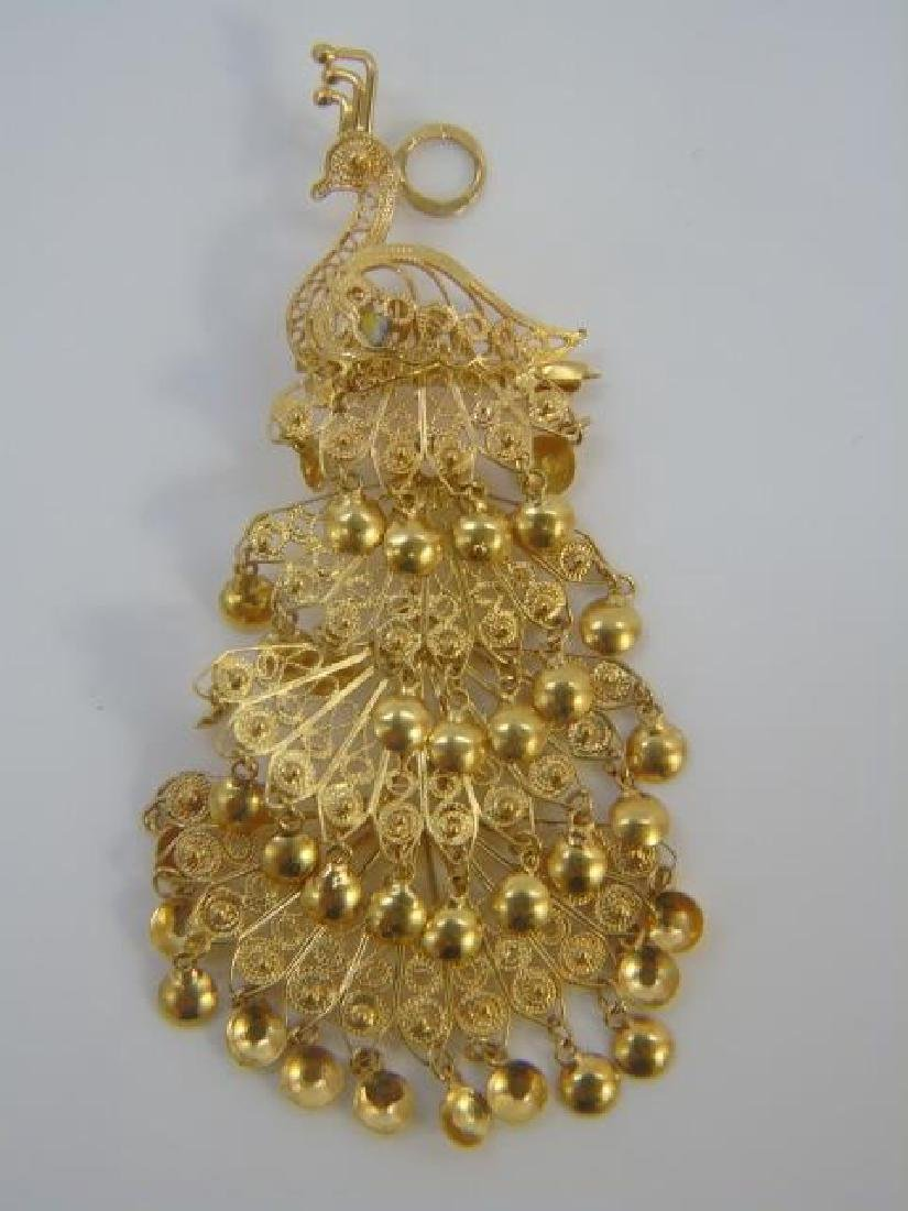 Estate Yellow Gold Indian Peacock Pendant Brooch