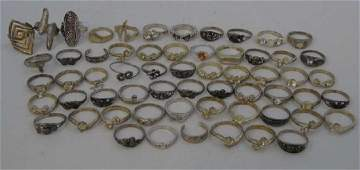 Large Group of Costume Fashion Silver Tone Rings