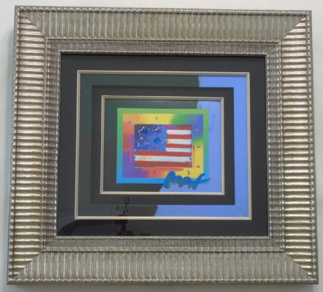 Peter Max American Flag w Heart Acrylic on Paper Framed