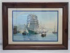 Large Nautical Print 4 Mast Schooner by M J Dawson