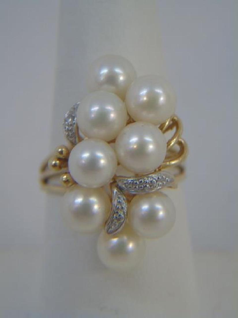 14k YG Pearl & Diamond Cluster Cocktail Ring