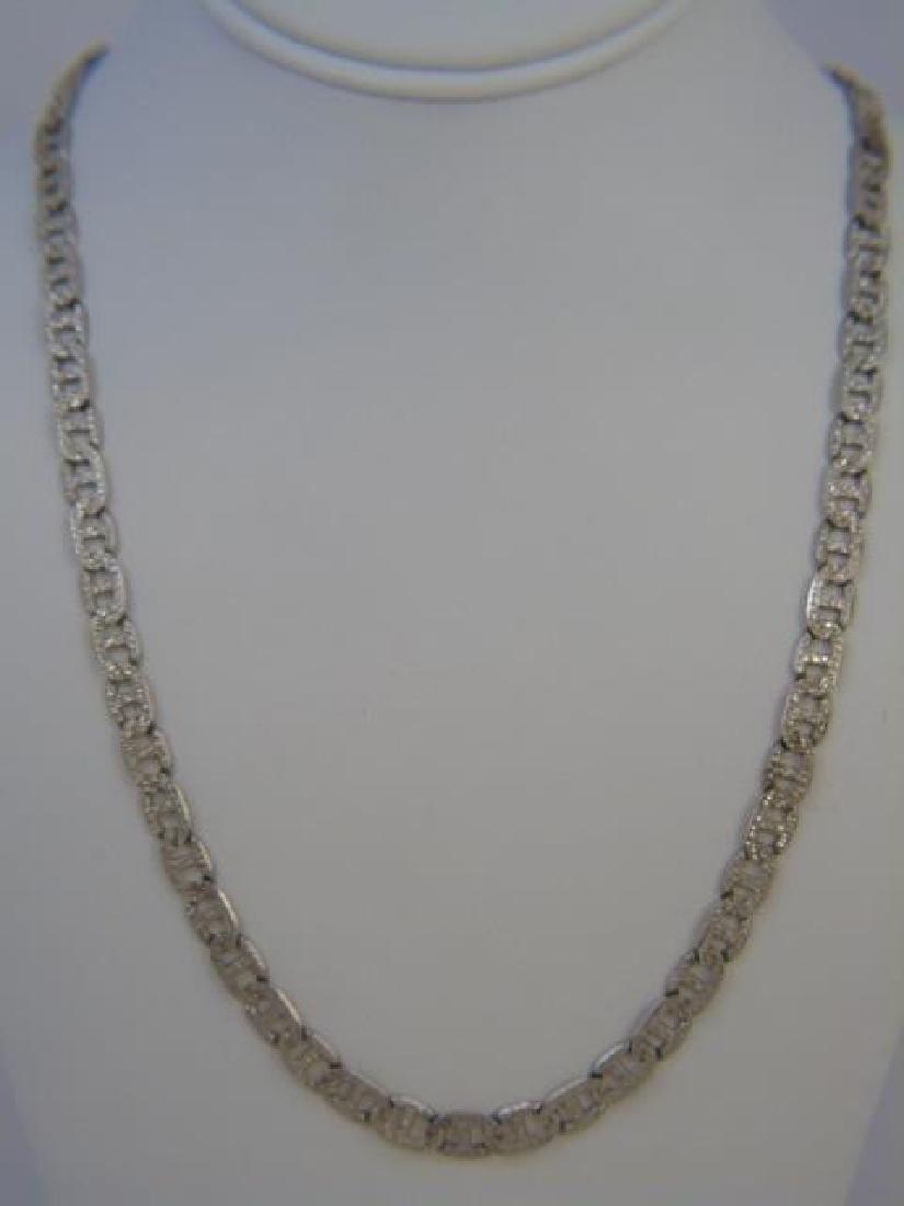 Vintage Sterling Silver Buckle Link Necklace