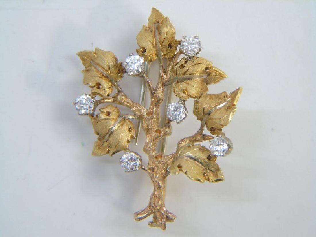 Mario Buccellati Estate Gold & Diamond Brooch Pin