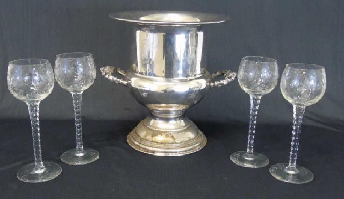 Silverplate Champagne Bucket & 4 Crystal Goblets