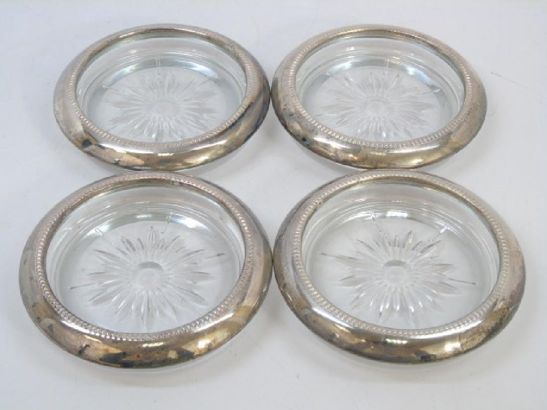 Set of Silver Plate & Crystal Coasters