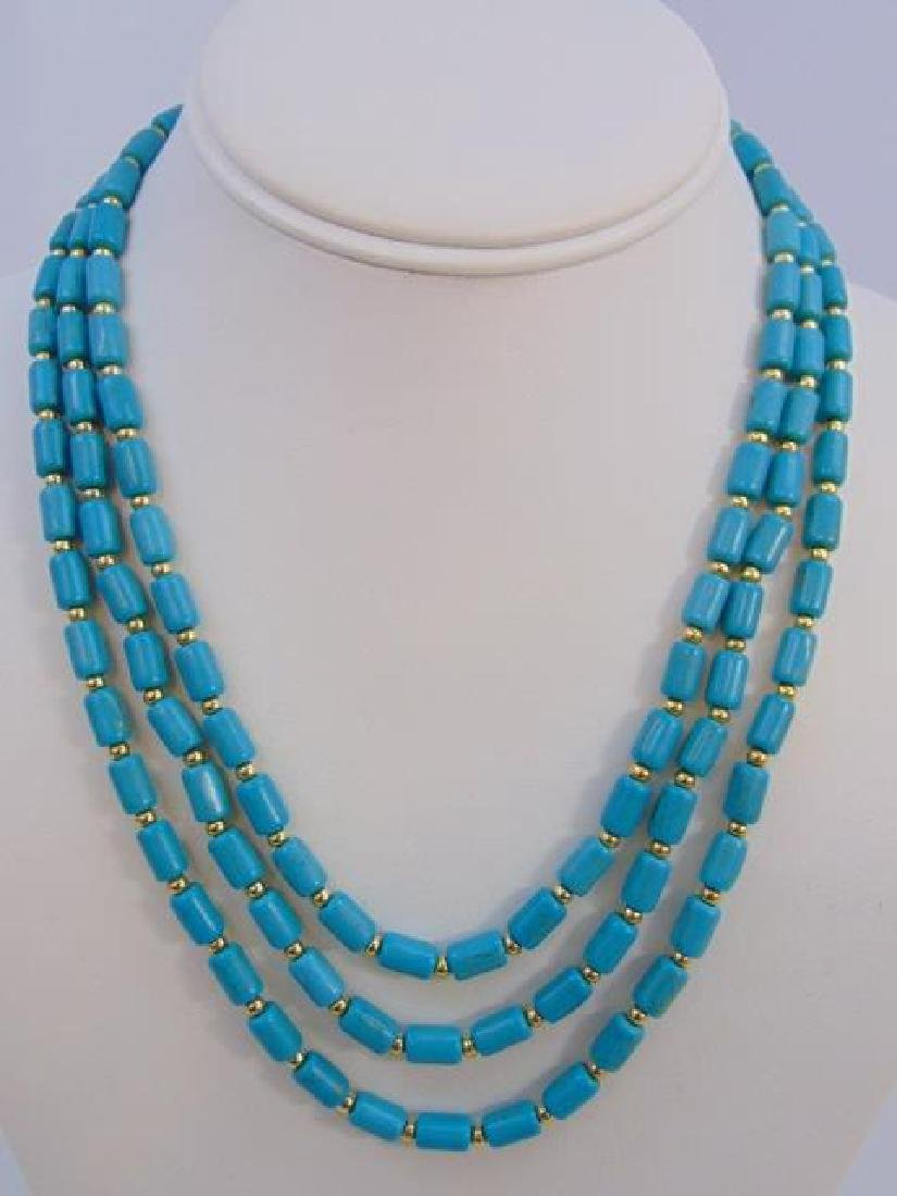 Contemporary Turquoise Triple Strand Necklace